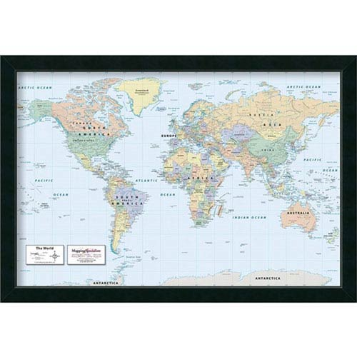 2016 World Map Classic Physical by Mapping Specialists : 39 x 27-Inch Framed Art