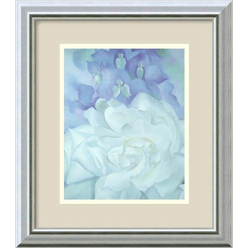 White Rose with Larkspur II, 1927 by Georgia O'Keeffe: 14 x 16 Print Reproduction
