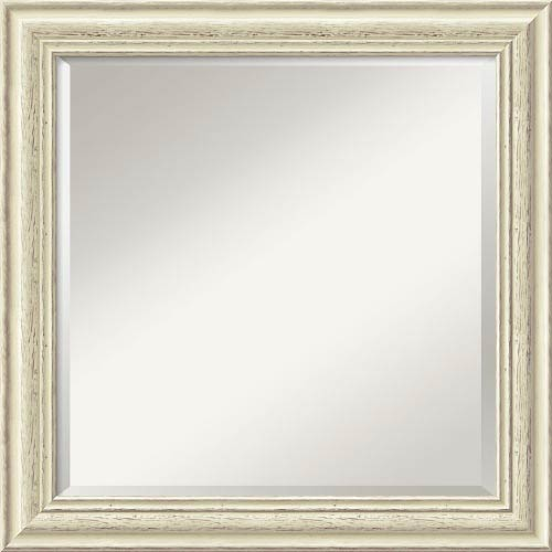 Country Whitewash Square Mirror