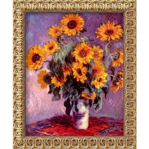 Amanti Art Sunflowers by Claude Monet: 19.5 x 23.5 Antique Gold Rococo Framed Giclee Canvas