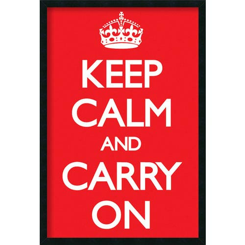 Amanti Art Keep Calm (Red) by Vintage Repro: 25.4 x 37.4 Print Framed with Gel Coated Finish