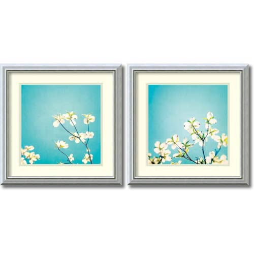 Amanti Art Delicate Skies of Blue by Carolyn Cochrane: 18 x 18 Print Reproduction, Set of Two
