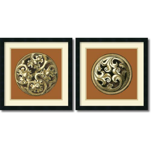 Amanti Art Graphic Medallion IV and V by Vision Studio: 21 x 21 Print Reproduction, Set of Two