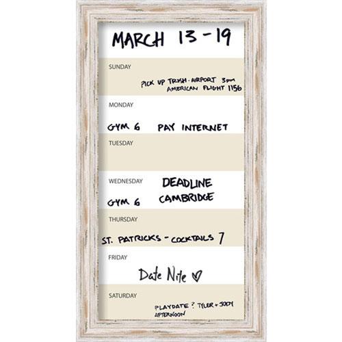 Alexandria 15 x 27-Inch Whitewash Vertical Dry-Erase Week Calendar