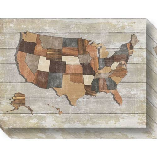Wood Map by Sparx Studio: 20 x 15-Inch Canvas Art