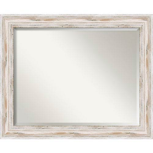 Amanti Art Distressed White Wash 33 X 27 Inch Large Vanity Mirror