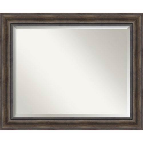 Amanti Art Rustic Pine 33 x 27-Inch Large Vanity Mirror