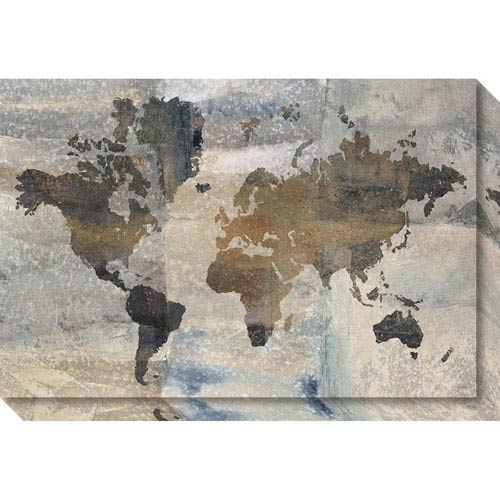Amanti Art Stone World (Map) by Avery Tillmon, 30 x 20 In. Canvas Art