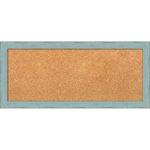 Amanti Art Sky Blue Rustic, 33 x 15 In. Framed Cork Board