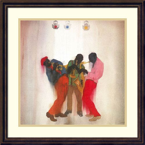 Amanti Art Black, Brown and Beige (Jazz) by Jim Tanaka, 22 x 22 In. Framed Art Print