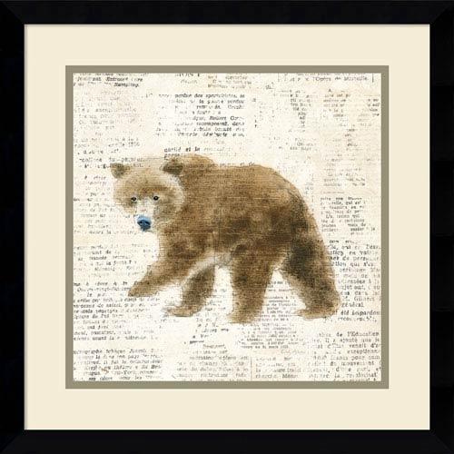 Into the Woods VI no Border (Bear) by Emily Adams, 17 x 17 In. Framed Art Print