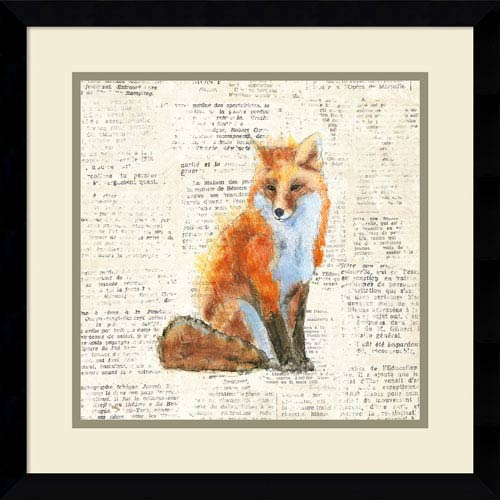 Into the Woods IV no Border (Fox) by Emily Adams, 17 x 17 In. Framed Art Print
