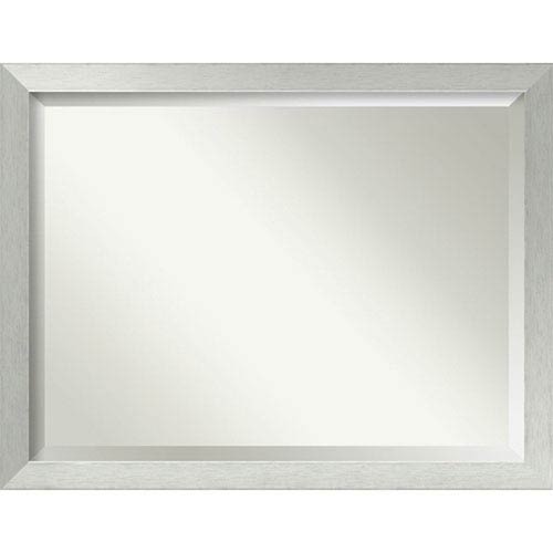 Brushed Sterling Silver 44 x 34 In. Bathroom Mirror