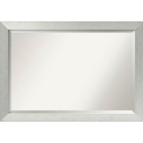 Brushed Sterling Silver 40 x 28 In. Bathroom Mirror