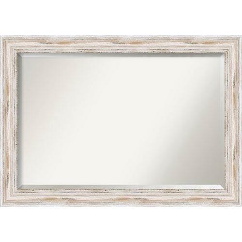 Amanti Art Alexandria White Wash 41 x 29 In. Bathroom Mirror