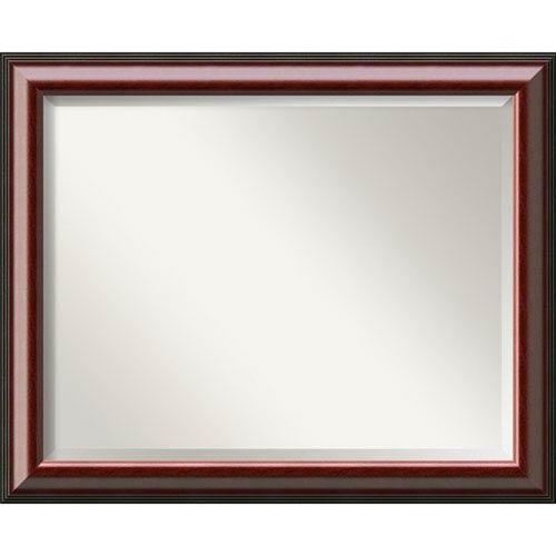 Amanti Art Cambridge Mahogany 32 X 26 In Bathroom Mirror