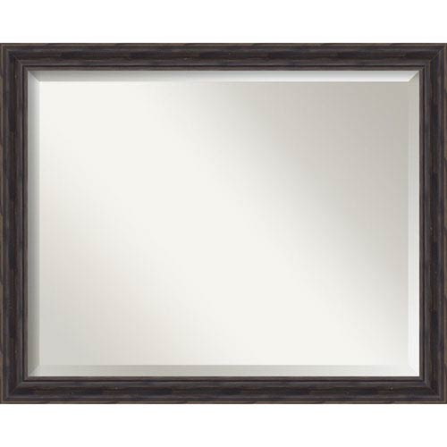 Amanti Art Narrow Rustic Pine 31 x 25 In. Bathroom Mirror