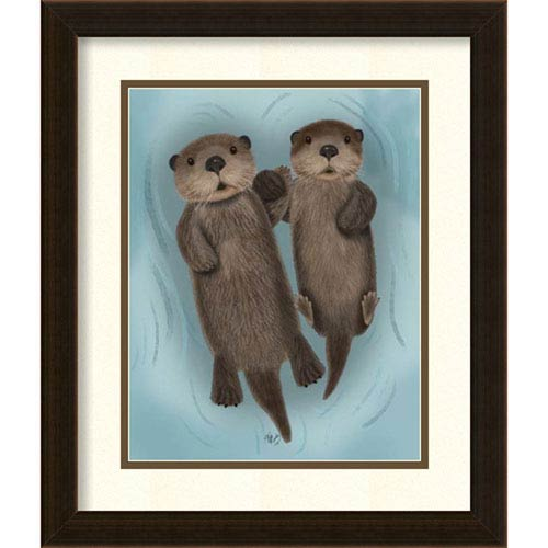 Otters Holding Hands by Fab Funky, 17 In. x 20 In. Framed Art
