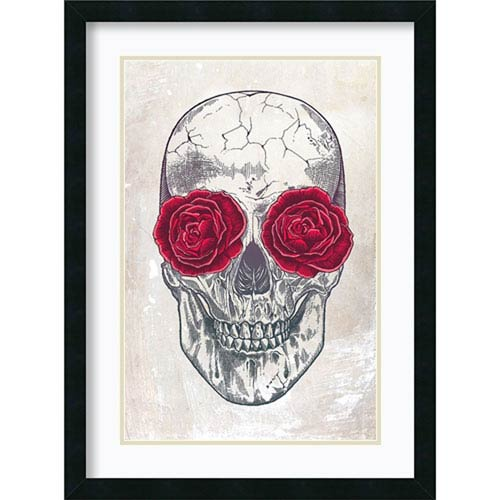 Amanti Art Skull and Roses by Rachel Caldwell, 23 In. x 31 In. Framed Art