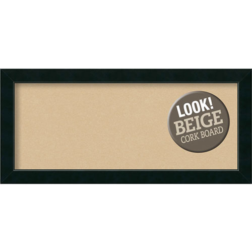 Amanti Art Corvino Black, 33 In. x 15 In. Beige Cork Board