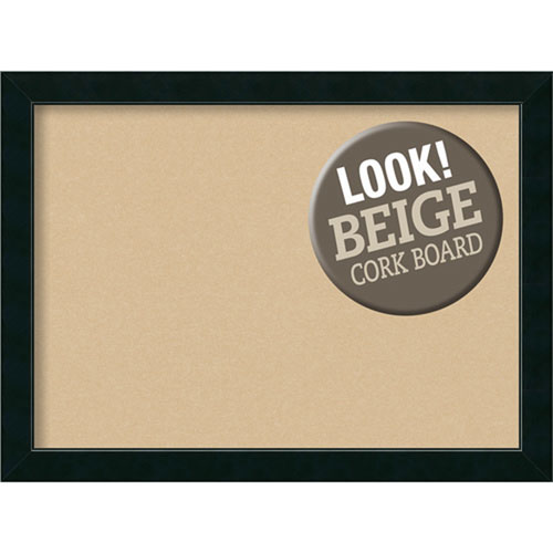 Amanti Art Corvino Black, 31 In. x 23 In. Beige Cork Board