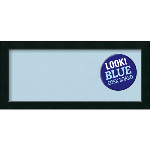 Amanti Art Corvino Black, 33 In. x 15 In. Blue Cork Board