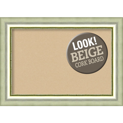 Amanti Art Vegas Curved Silver, 29 In. x 21 In. Beige Cork Board