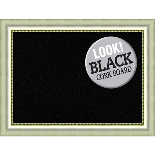 Amanti Art Vegas Curved Silver, 33 In. x 25 In. Black Cork Board