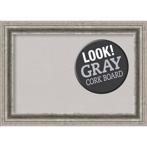 Amanti Art Bel Volto Silver, 21 In. x 15 In. Grey Cork Board
