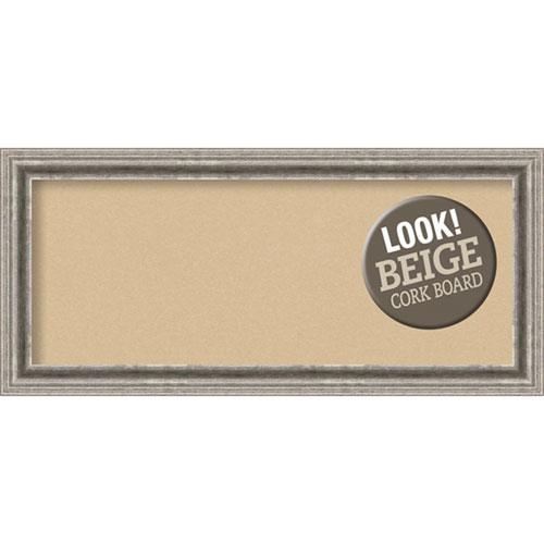 Amanti Art Bel Volto Silver, 33 In. x 15 In. Beige Cork Board