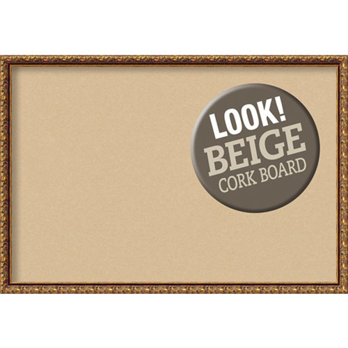 Amanti Art Antique Bronze, 38 In. x 26 In. Beige Cork Board