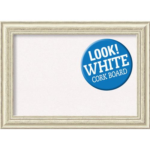 Amanti Art Country White Wash, 29 In. x 21 In. White Cork Board