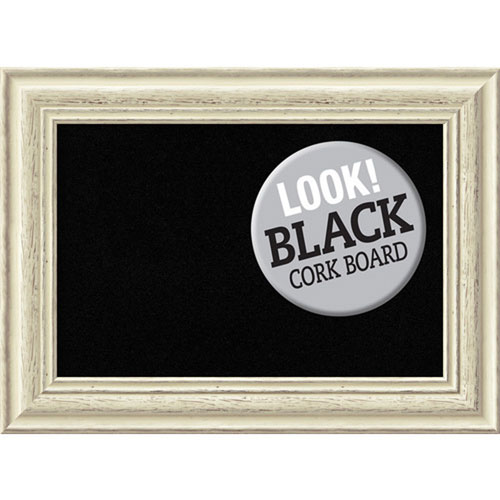 Amanti Art Country White Wash, 23 In. x 17 In. Black Cork Board