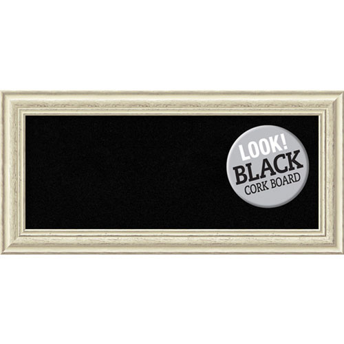 Amanti Art Country White Wash, 35 In. x 17 In. Black Cork Board