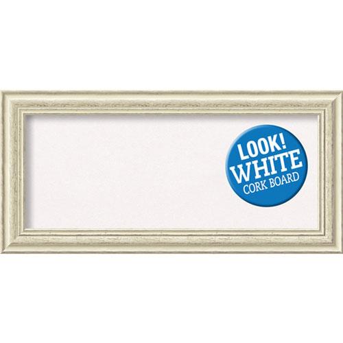 Amanti Art Country White Wash, 35 In. x 17 In. White Cork Board