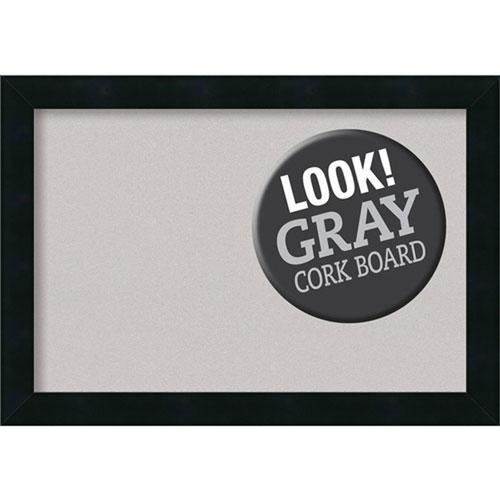 Mezzanotte Black, 20 In. x 14 In. Grey Cork Board