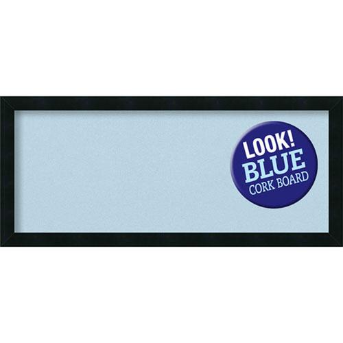 Amanti Art Mezzanotte Black, 32 In. x 14 In. Blue Cork Board