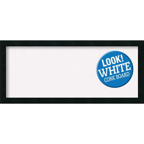 Amanti Art Mezzanotte Black, 32 In. x 14 In. White Cork Board