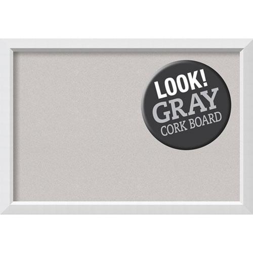 Blanco White, 40 In. x 28 In. Grey Cork Board