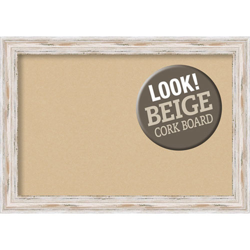 Amanti Art Alexandria White Wash, 41 In. x 29 In. Beige Cork Board