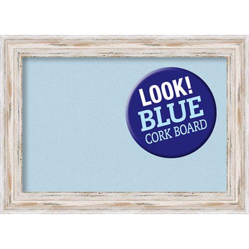Alexandria White Wash, 22 In. x 16 In. Blue Cork Board