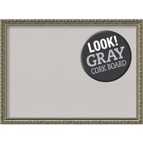 Amanti Art Parisian Silver, 31 In. x 23 In. Grey Cork Board