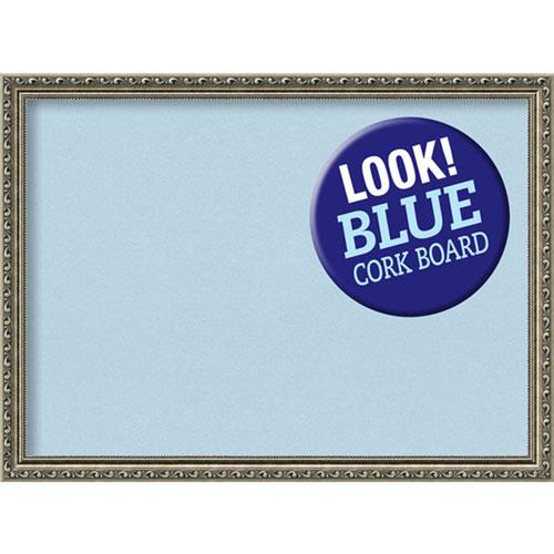 Amanti Art Parisian Silver, 31 In. x 23 In. Blue Cork Board