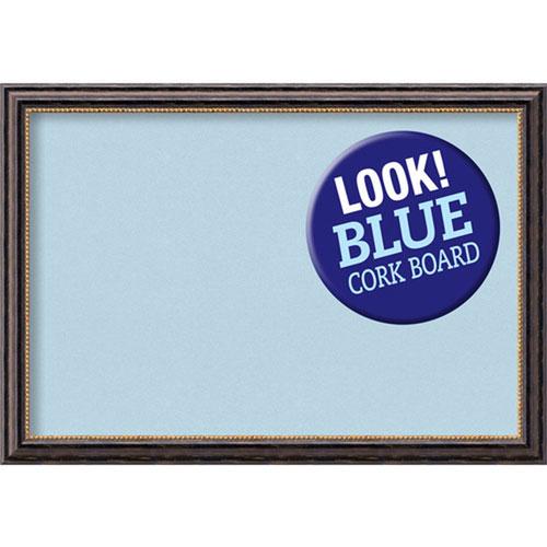 Amanti Art Tuscan Rustic, 40 In. x 28 In. Blue Cork Board