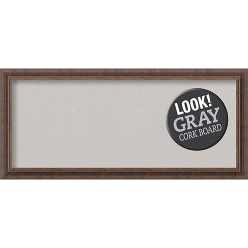 Amanti Art Distressed Rustic Brown, 33 In. x 15 In. Grey Cork Board