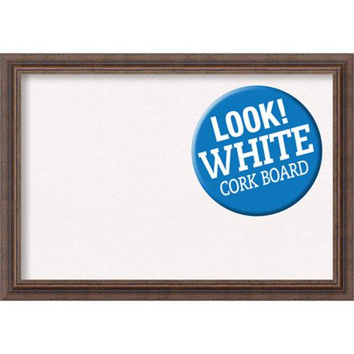 Amanti Art Distressed Rustic Brown, 27 In. x 19 In. White Cork Board