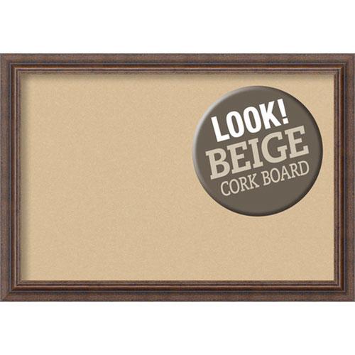 Amanti Art Distressed Rustic Brown, 27 In. x 19 In. Beige Cork Board