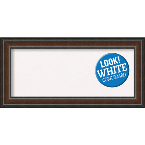 Amanti Art Cyprus Walnut, 35 In. x 17 In. White Cork Board
