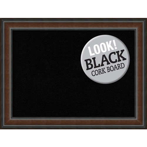 Amanti Art Cyprus Walnut, 33 In. x 25 In. Black Cork Board