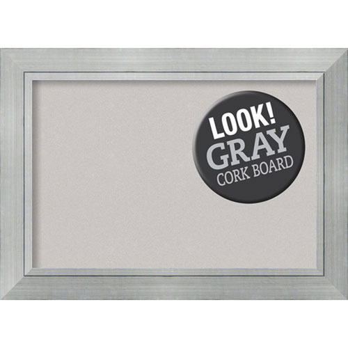 Amanti Art Romano Silver, 44 In. x 32 In. Grey Cork Board